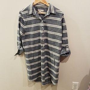 Ann Taylor LOFT denim color striped shirt dress.